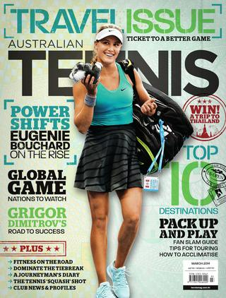 "Magazine cover of March 2014 issue ""Travel Issue: ticket to a better game."""