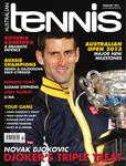 "Magazine cover of February 2013 issue ""Novak Djokovic: Djoker's Triple Treat"""